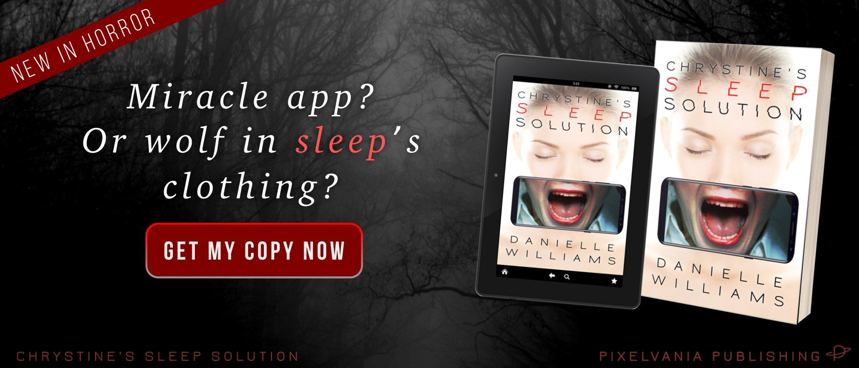 Click here buy CHRYSTINE'S SLEEP SOLUTION, my latest horror story, from your favorite retailer